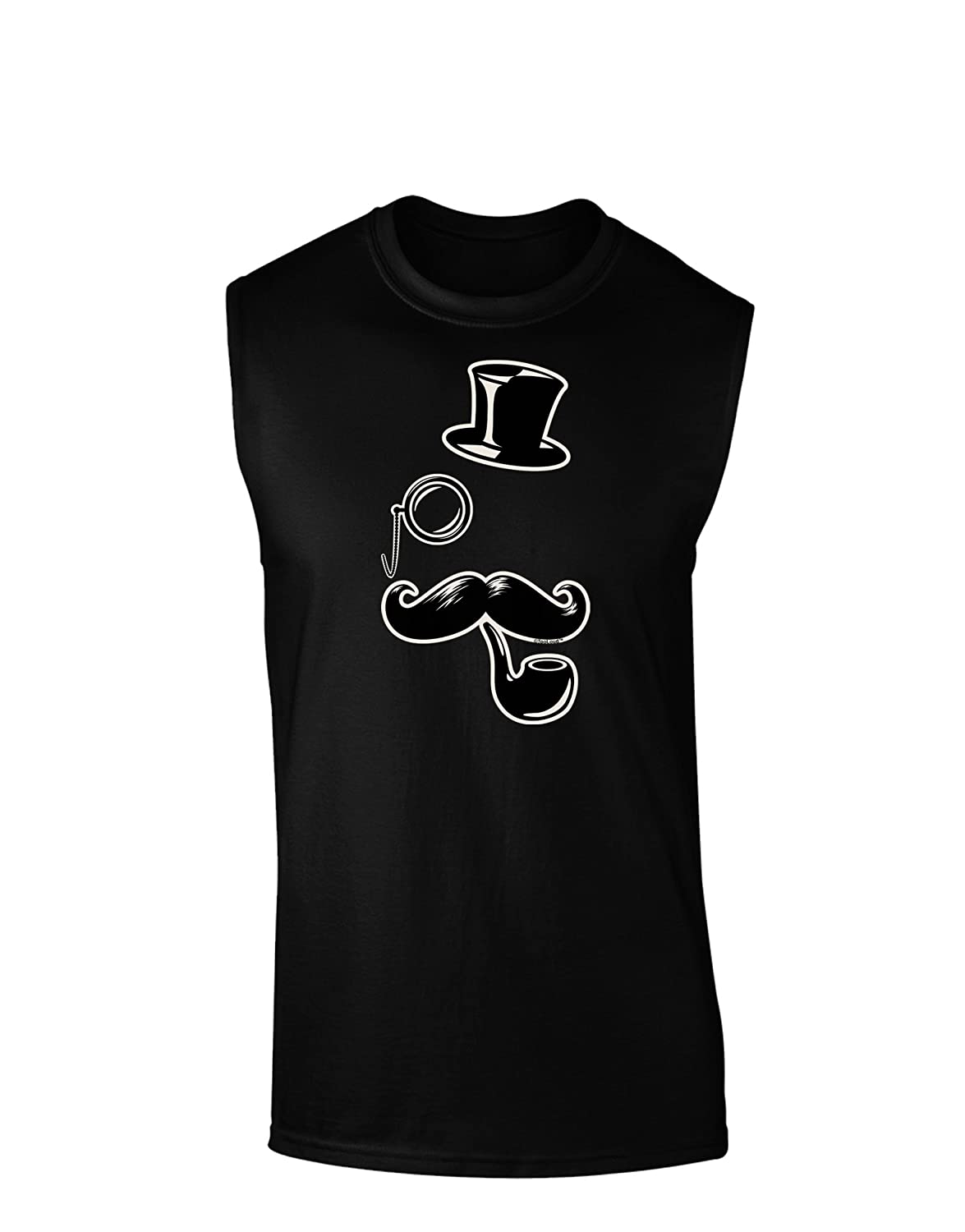 TooLoud Tophat Mustache Pipe and Monocle Dark Muscle Shirt