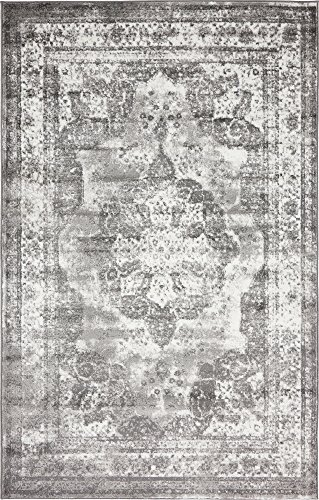 Unique Loom 3134088 Sofia Collection Traditional Vintage Beige Area Rug, 4' x 6' Rectangle, Gray (Rug 4x7)