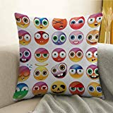 Emoji Bedding At Target Emoji Microfiber Rainbow Colored Cartoon Like Smiley Face Expressions Sad Happy Angry Fierce Art Print Sofa Cushion Cover Bedroom car Decoration W20 x L20 Inch Multicolor