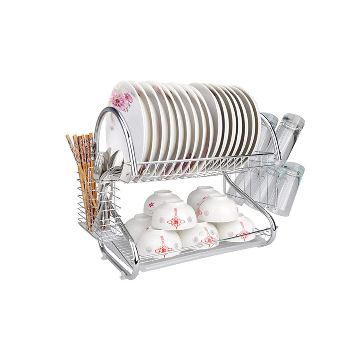 Cutlery Dish Rack, Double Layers Design Home Kitchen Stainless Steel Cutlery Dish Rack Dish Drainer Dryer Drip Tray Drying Rack Drainer Dryer DoMoment