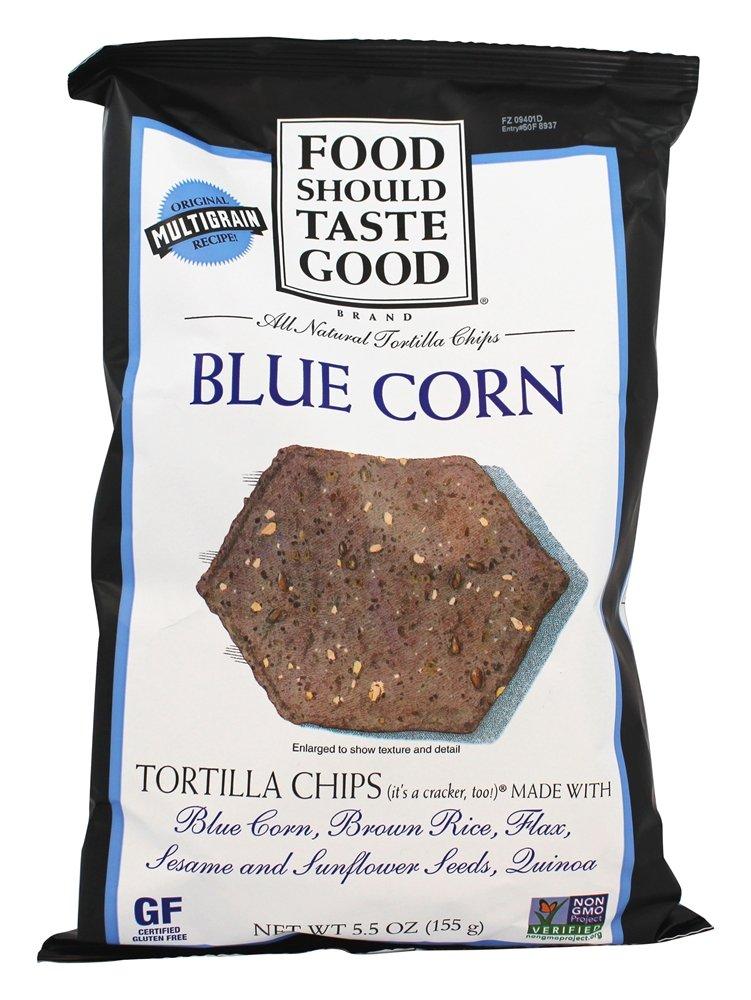 Food Should Taste Good - All Natural Tortilla Chips Blue Corn - 5.5 oz (pack of 2) by Food Should Taste Good