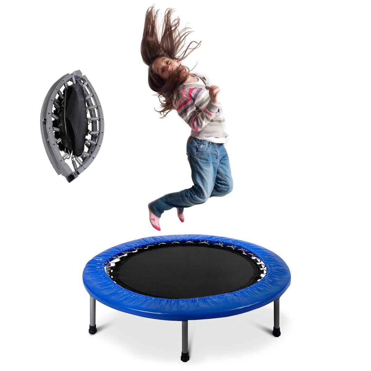 Giantex Mini Fitness Trampoline for Adults and Kids, 38 Inch Rebounder Trampoline, with Padding Springs Elastic Safe for Indoor Outdoor Exercise Workout, Foldable Exercise Trampoline