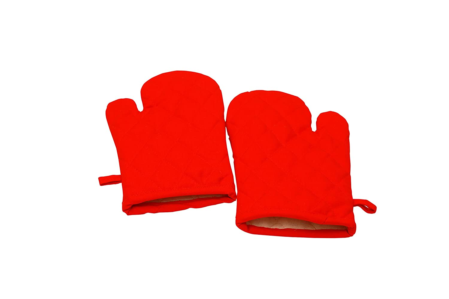 Oven Mitts, Set Of 2, 100% Cotton Of Size 7 X 12 Inches, Premium Heat Resistant Kitchen Gloves, Cotton Fabric Quilted, Red, Heat Resistant For Everyday Kitchen Cooking And Baking.