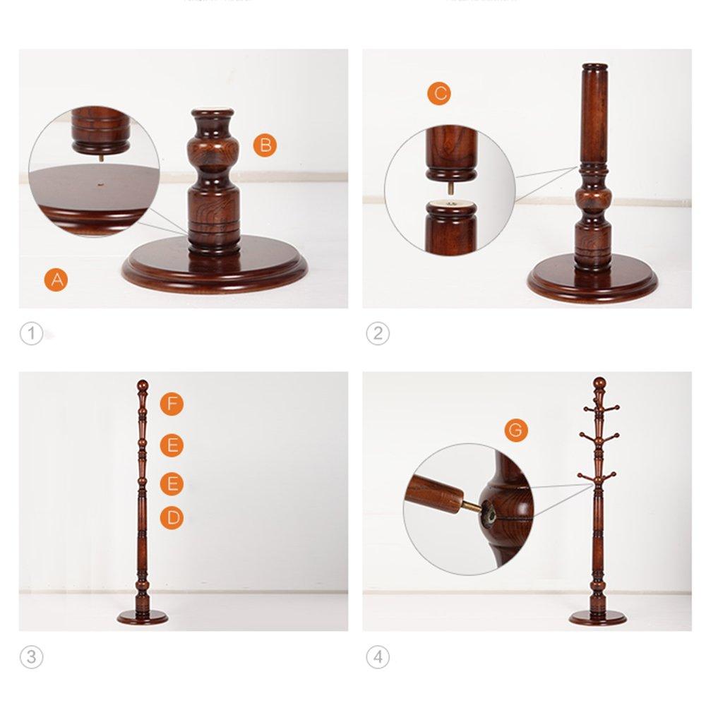 Solid Wooden Coat Rack / Floor Hanger / Bedroom Hanging Hanger / Drying Door Door Frame / Solid Wood Base Rod Natural Environment (40 187cm)