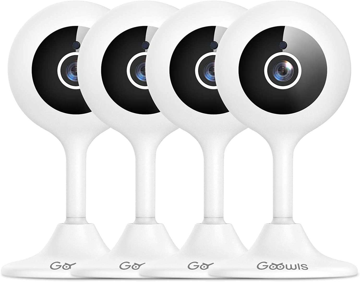 Security Camera Indoor, Goowls 1080P HD 2.4GHz Wi-Fi Indoor IP Camera for Baby/ Pet/ Nanny with Night Vision Motion Detection Alert Two-Way Audio Cloud & SD Card Storage Compatible with Alexa, 4-Pack