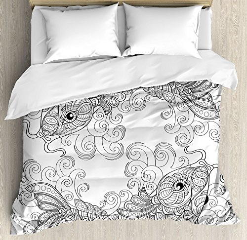 Ambesonne Asian Duvet Cover Set King Size, Traditional Koi Fish Pattern with Ethnic Ornaments Eastern Culture Image Print, Decorative 3 Piece Bedding Set with 2 Pillow Shams, Grey and White