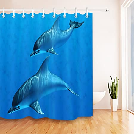 LB UnderSea Animal Dolphin Shower Curtain Set Parent Child Bathroom Curtains Polyester Fabric Mildew Resistant