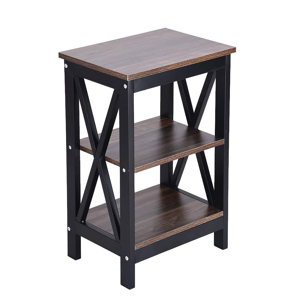 Pollyhb Table, 3 Tier Nightstand Classic Bedside Table Rack Storage Bedside Tables for Living Room Bedroom
