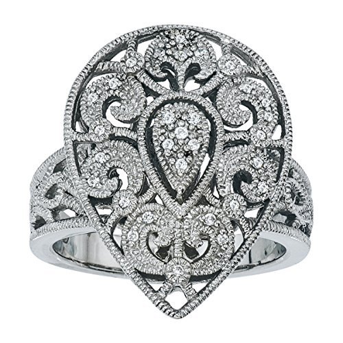 Diamond Vintage Pear Shaped Ring in Sterling Silver (Pear Diamond Wedding Ring)