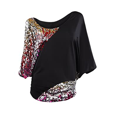 aef42b6bb1ad6 Women s Scoop-neck Batwing Sleeve Glittery Sequin Blouse Sparkly Glamouse  Tank Top T-shirts