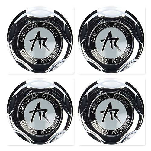 (4 Pack American Racing 1342100S Snap-in Center Cap with Silver Logo)