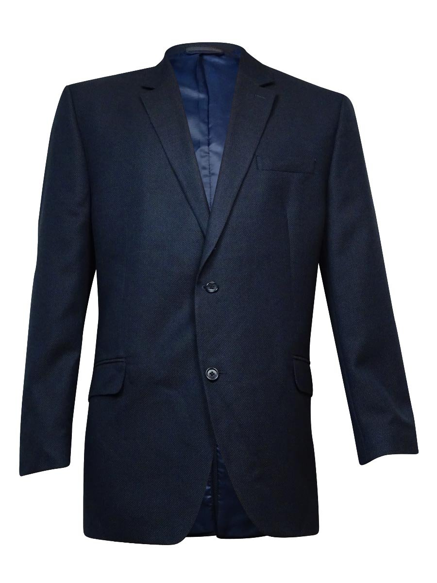 Andrew Fezza Mens Textured Notch Lapel Two-Button Suit Jacket Navy 48L