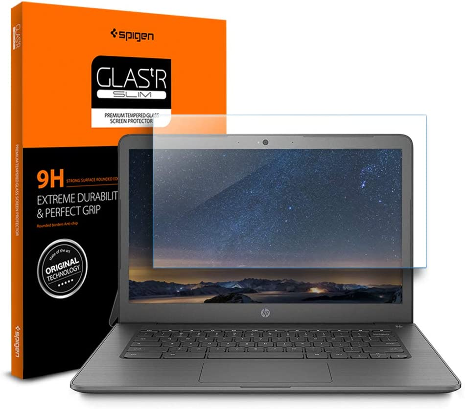 Spigen Tempered Glass Screen Protector Designed for ONLY HP Chromebook 14 CA052WM (14 inch) [9H Hardness]