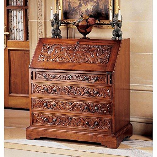 Carved Secretary - Design Toscano Carved Unicorn Drop-Front Secretary Desk