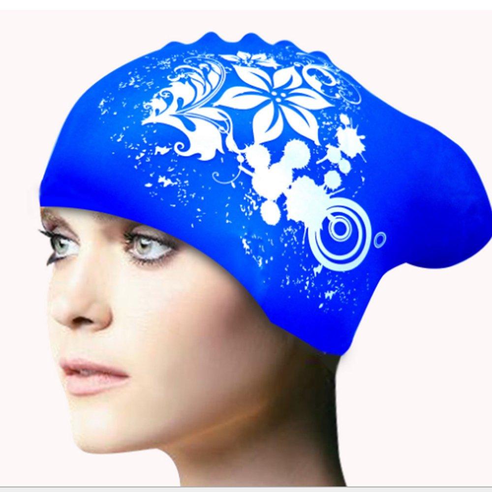 CDKJ Bonnet de Bain en Silicone pour Les Femmes Filles et Adultes Bonnet de Bain pour Les Cheveux Longs Cheveux /épais Cheveux boucl/és Dreadlocks Chapeau de Bain Wrap Oreille Garde Les Cheveux secs