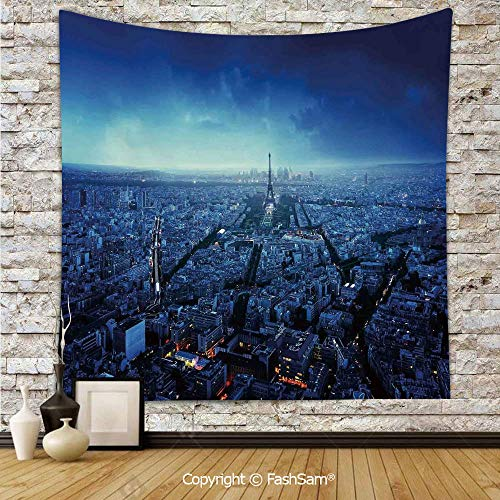 FashSam Tapestry Wall Blanket Wall Decor Skyline at Sunset France European Parisian Landmark Travel Destination Monochrome Home Decorations for Bedroom(W51xL59) -