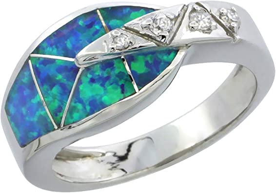 Womens silver ring synth Blue Opal Ring Silver and Gold ring handmade Unique silver ring