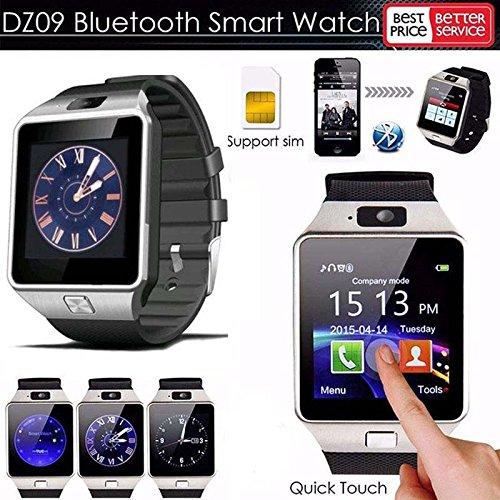 Hinmay DZ09 - Reloj inteligente con Bluetooth, compatible con tarjeta SIM TF con cámara, para teléfonos Android, IOS, iPhone, Samsung, LG, color negro: ...