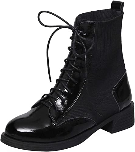 COOLCEPT Mujer Western Tobillo Botas Plano Botas con Cordones Otoño Court Botas Colegio Zapatos Black Talla 33 Asian: Amazon.es: Zapatos y complementos