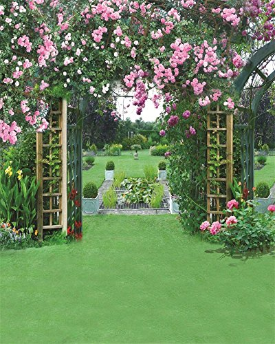 AOFOTO 8x10ft Wedding Archway Backdrop Romantic Garden Flowers Photography Background Manor Beautiful Floral Pergola Bride Lovers Woman Girlfriend Artistic Portrait Decoration Photo Studio Props