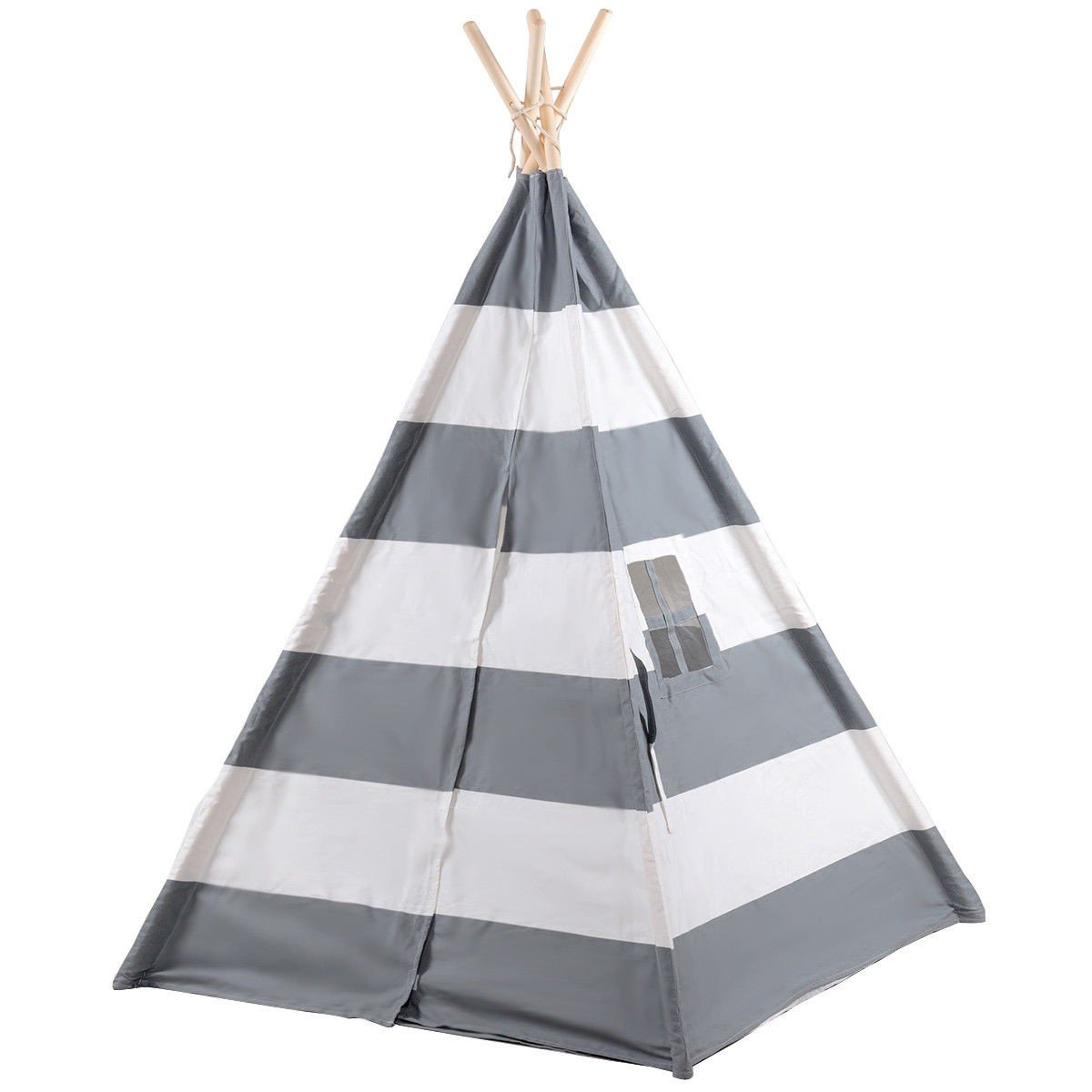 COSTWAY Kids Indian Play Tent Teepee Children Girl Boy Play House Sleeping Dome Bag Gray + FREE E - Book Only By eight24hours by COSTWAY (Image #2)