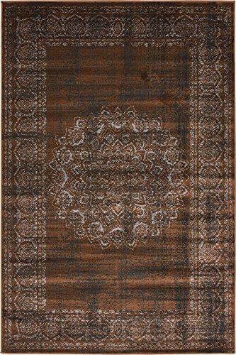 Unique Loom Imperial Collection Modern Traditional Vintage Distressed Chocolate Brown Area Rug (4' 0 x 6' - Area 4x6 Chocolate