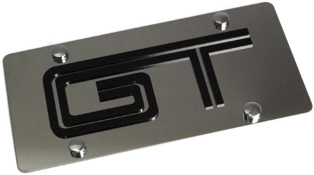 Eurosport Daytona Stainless Steel Plate Ford 05 Mustang GT Black GT License Plate Frame 3D Novelty