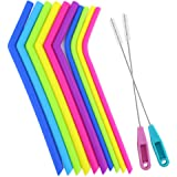 SERONLINE Reusable Silicone Straws BPA Free, 12PCS, Extra Long Flexible Drinking Straws with 2 Cleaning Brushes for 20/30 oz (Type 1)