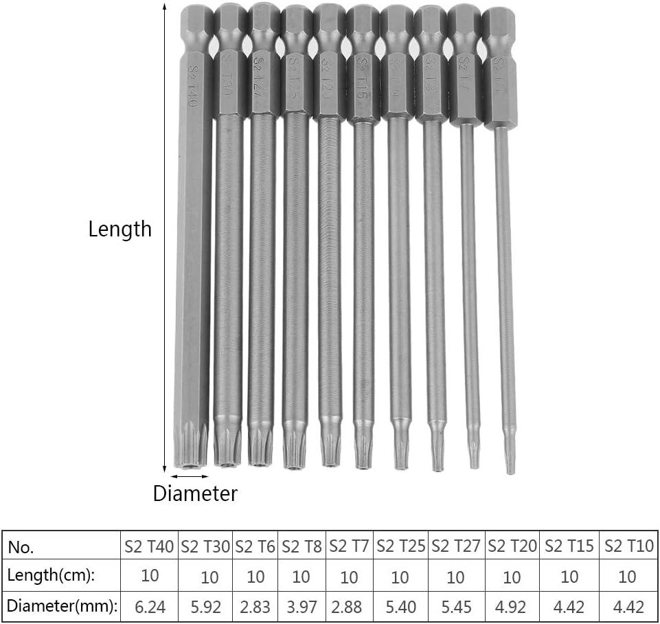 10pcs destornilladores Torx Bits Set acero S2 1/4 pulgadas punta de destornillador hexagonal cabeza de taladro Set 100 mm de longitud