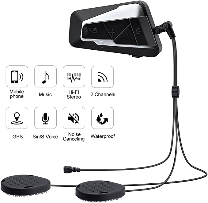 AUTOLOVER Bluetooth Motorcycle Intercom 1200M Helmet Headset Communication System with Microphones for MP3 Player//GPS//Walkie-Talkie Dual Hands Free /& FM Radio