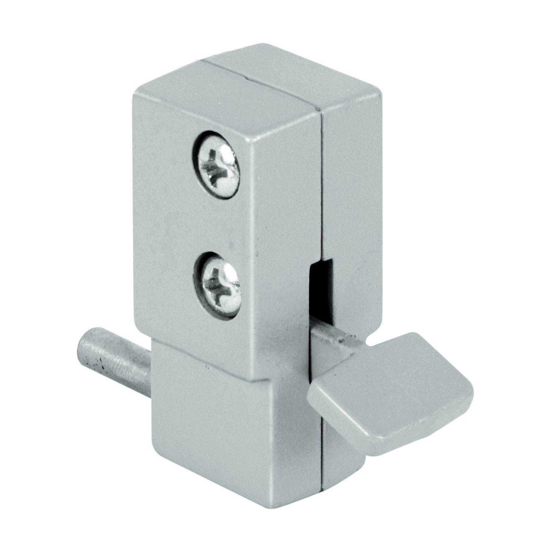 Prime-Line MP4325 Sliding Door Lock, 5/8 in, Diecast w/Hardened Steel Bolt, Gray, Step-On, Pack of 1
