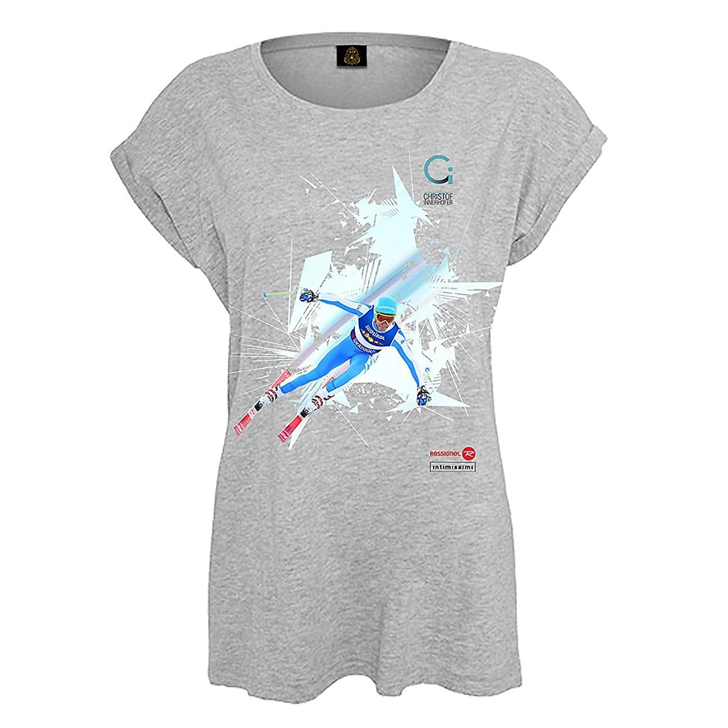 "Customized T-Shirt, Design ""CHRISTOF INNERHOFER-SKI-Women T-Shirt"" gray (V.I.P. Pictures World by CRISTALICA)"