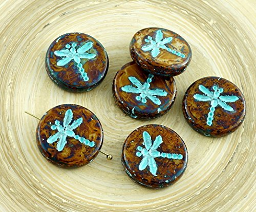 4pcs Picasso Opaque Ivory Brown Travertine Turquoise Wash Rustic Dragonfly Flat Coin Round Czech Glass Beads (Turquoise Coin Beads)