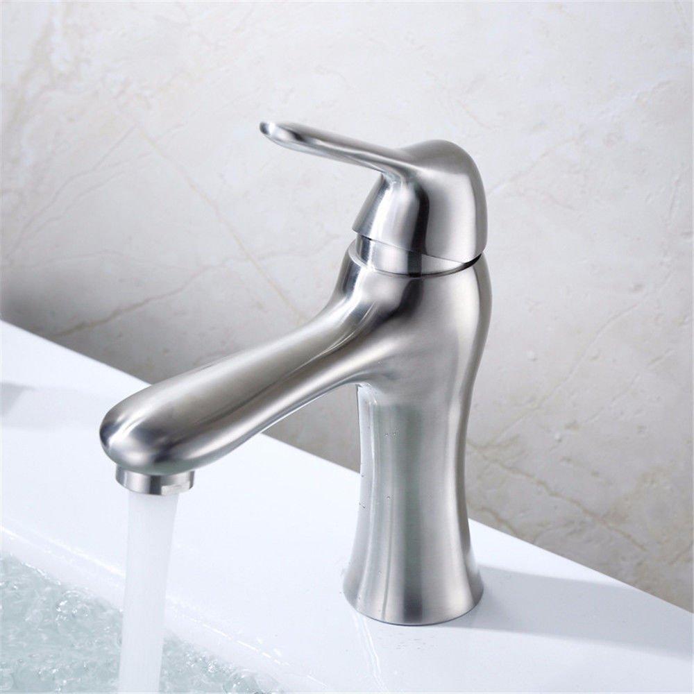 JingJingnet タップキッチンタップ洗面台の蛇口冷たいとお湯のミキサーバスルームのミキサー洗面器のミキサータップステンレス鋼ホットとコールド図面シングルホールA用キッチンまたは浴室のタップ (Color : A) B07SMRD6ZS A