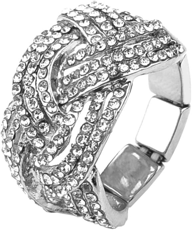 Nicole Miller New York Silvertone Twisted Stretch Clear Crystal Rhinestones Fashion Ring