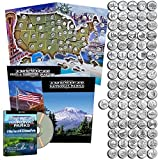 State Quarters 1999-2009 & National Park Quarters 2010-2017 in a map book with a free dvd.