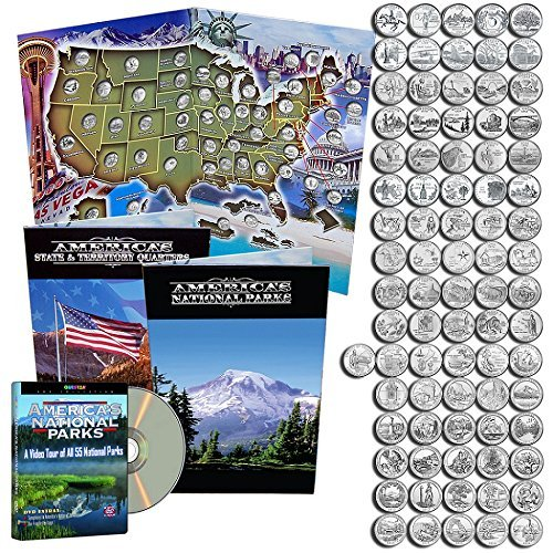 State Quarters 1999-2009 & National Park Quarters 2010-2017 in a map book with a free dvd. (Bu State Quarter Collection)