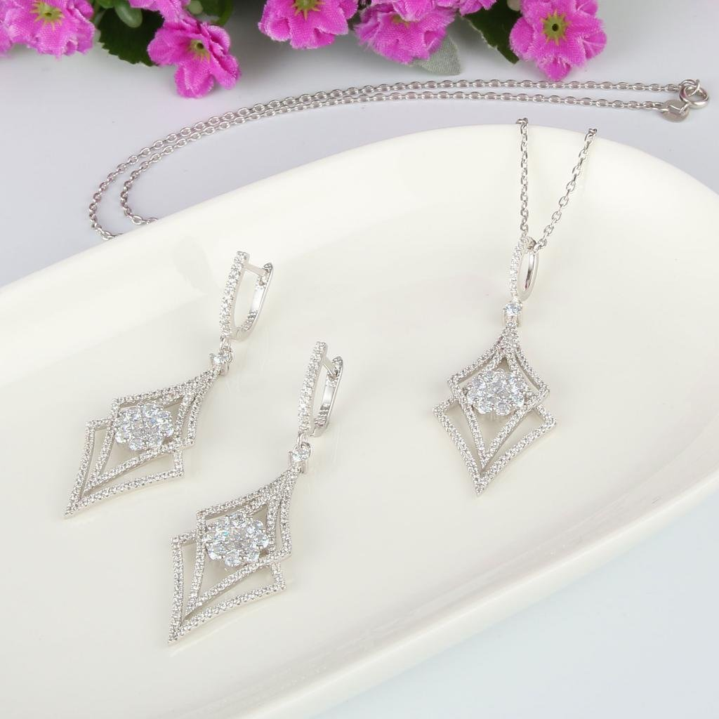 EVER FAITH Silver-Tone Zircon Elegant Double Rhombus Shaped Pendant Necklace Earrings Set Clear by EVER FAITH (Image #3)