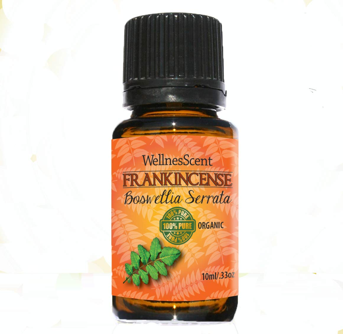 Frankincense Essential Oil - 100% Pure - Certified Organic, 10 ml Boswellia Serrata. WellnesScent MPN-KSC-81716B