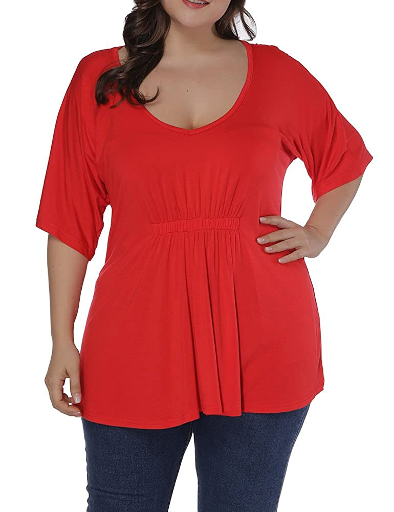 Allegrace Women Plus Size Pleated Front T Shirt Short Sleeve V Neck Loose Tee Top AG378