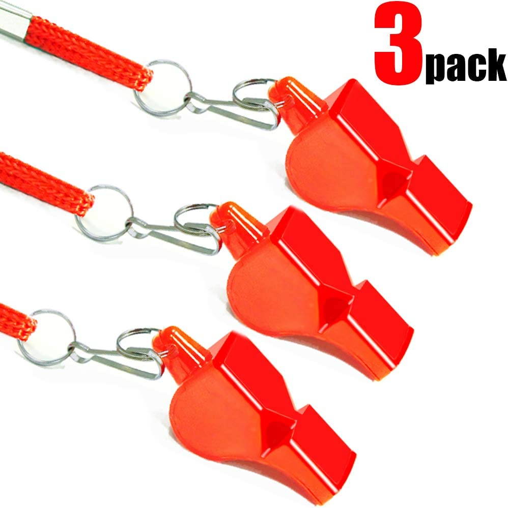 3PCS Professional Emergency Whistles with Lanyards Fya Whistle Survival Very Loud Pealess Whistle Perfect for Lifeguard Rescue Self-Defense