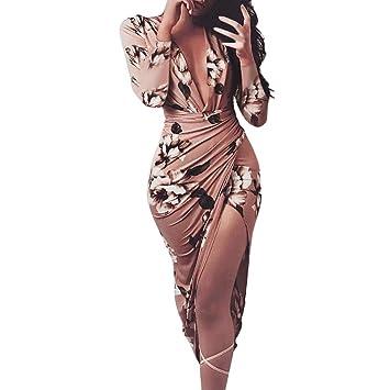 FeiXiang Mujeres Vestido, Vestido Ajustado De Manga Larga Estampado Floral Casual OtoñO Invierno De Mujer