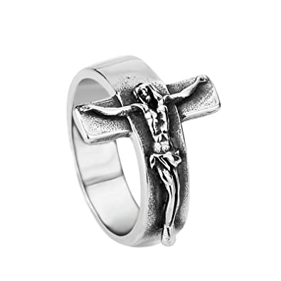 Jesus Cross Jewelry Mens Ring Vintage Titanium Steel Ring Jewelry Orders Are Welcome. Jewelry & Accessories