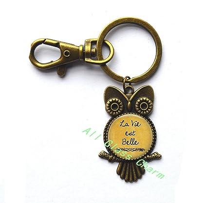 Amazon Com Charming Owl Keychain La Vie Est Belle Life