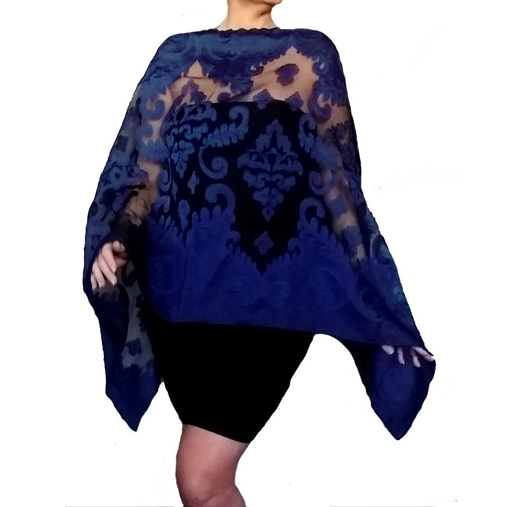 Plus Size Navy Evening Wrap Dark Blue Stole Black Organza Shawl By ZiiCi