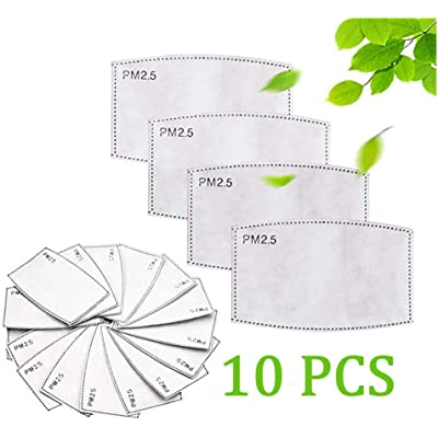 10 PM 2.5 Filter Replacement for Bandana, Adult Activated Carbon Protective Filter 5 Layers Anti Haze Filters Replaceable