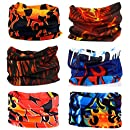 SmilerSmile 6pcs Assorted Seamless Outdoor Sport Bandanna Headwrap Scarf Wrap, 12 in 1 High Elastic Magic Headband & Collars Muffler Scarf Face Mask with UV Resistance, (Fire)