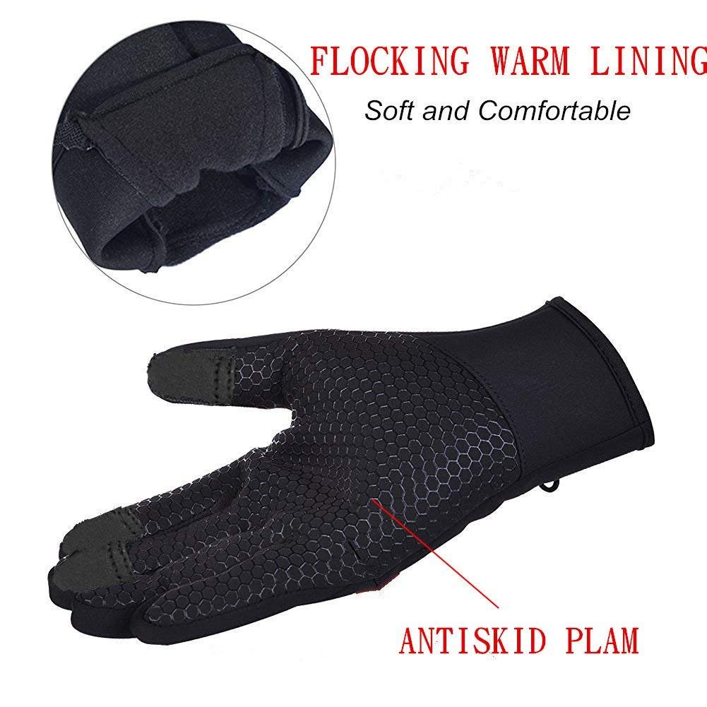 YYGIFT Touch Screen Gloves Outdoor Waterproof Winter Gloves Wind-Stopper Non-Slip Palm for Men Women