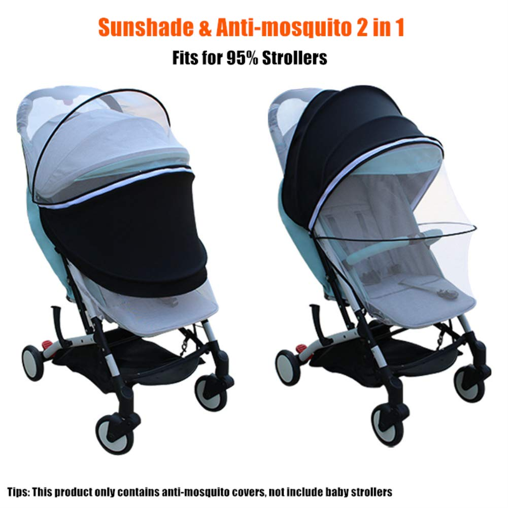 Mosquito Net Sunshade Anti-Mosquito Universal Cover 2 in 1 Fits for 95% Baby Strollers Pushchair (Black)