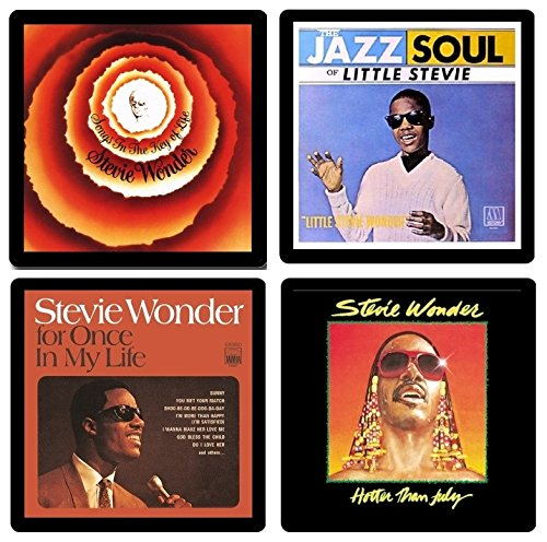 Stevie Wonder Coaster Gift Collection - (4) Different Album Covers Reproduced Onto Absorbent, Soft, Drink Coasters